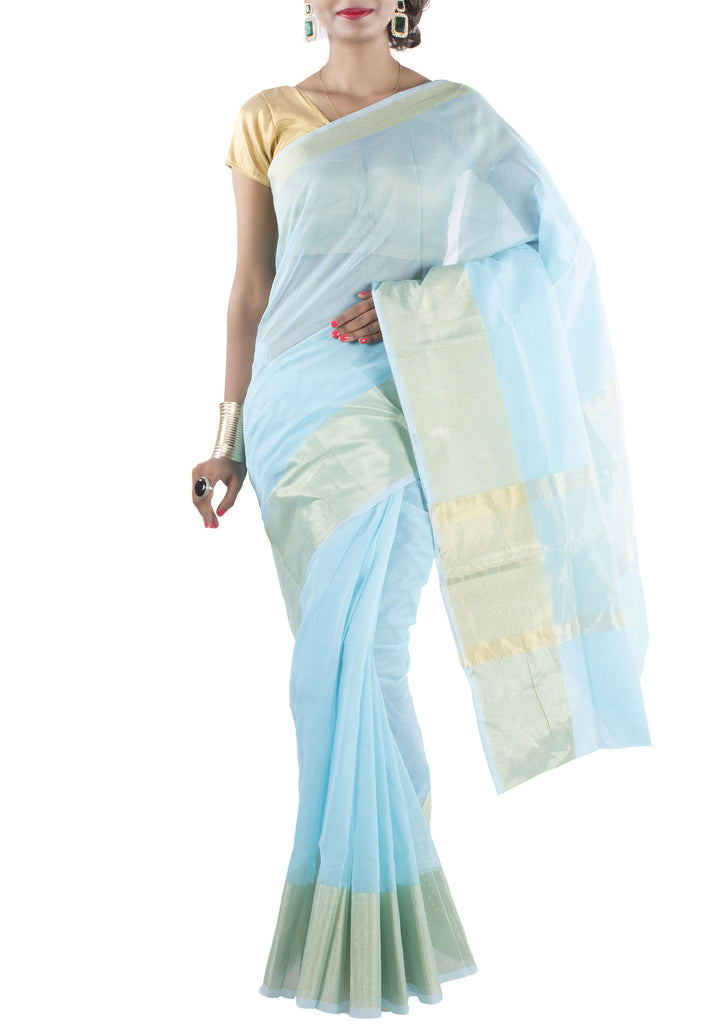Image of model wearing Blue Chanderi Art Silk Cotton Saree with Zari work from front side