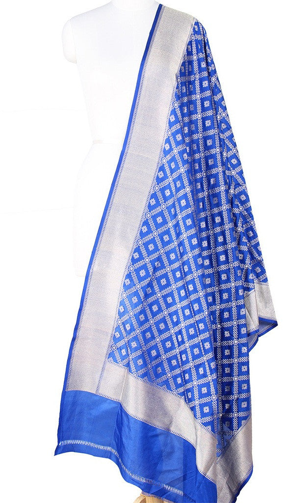 Blue Katan Silk Banarasi Dupatta with grid pattern jaal Main Image