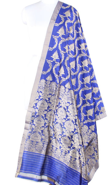 Blue Katan Silk Banarasi Dupatta with intricate flower jaal PCARS07KS02 (1) Main