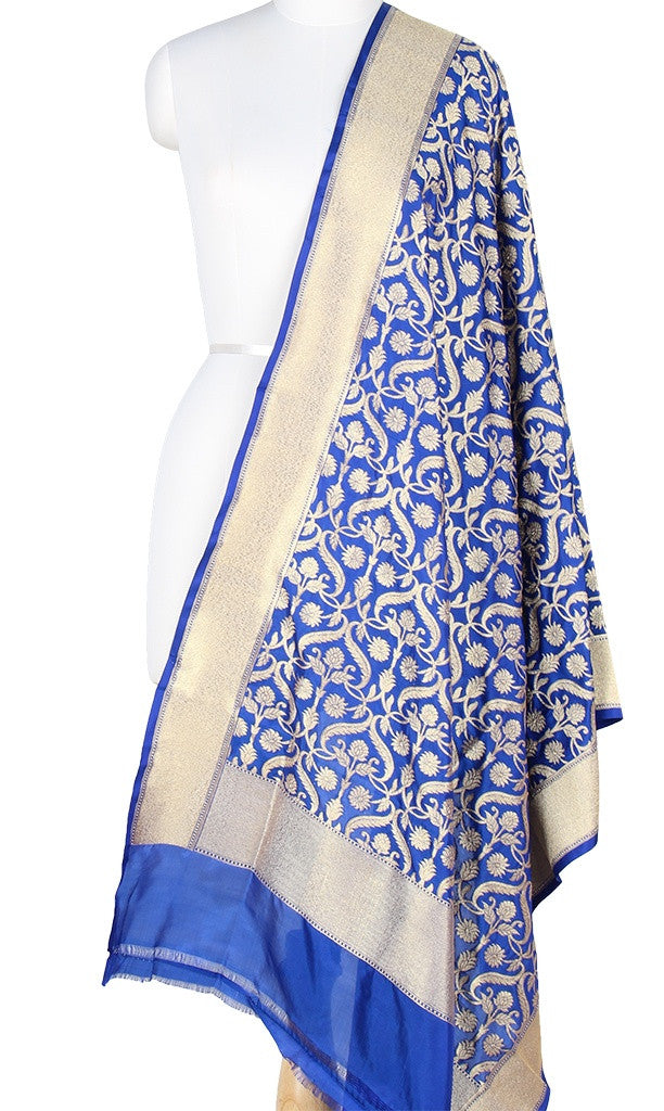 Blue Katan Silk Banarasi Dupatta with stylized jaal and Zari work PCRVD05K06 (1) Main