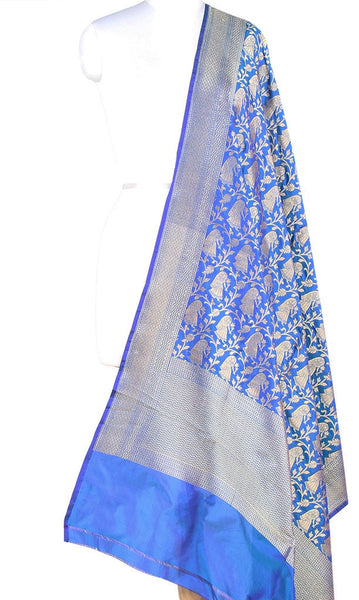 Blue Katan Silk Banarasi dupatta with Baluchari motifs (PCRVD04B08) (1) Main