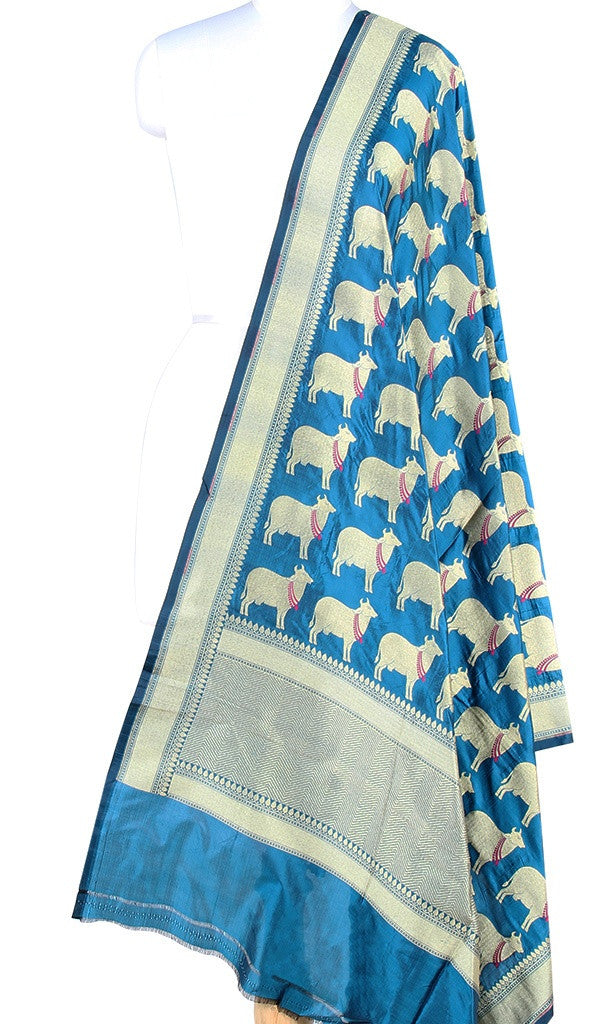 Blue Katan silk Banarasi dupatta with cow motifs (PCRVD02C09) (1) Main