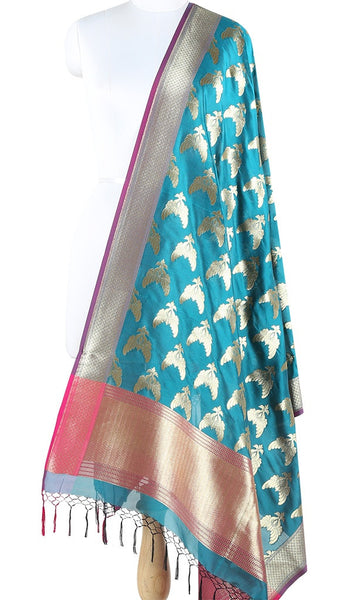 Bombay Sapphire Art Silk Banarasi Dupatta with bird pair motifs ZISSRVDAS679 (1) Main