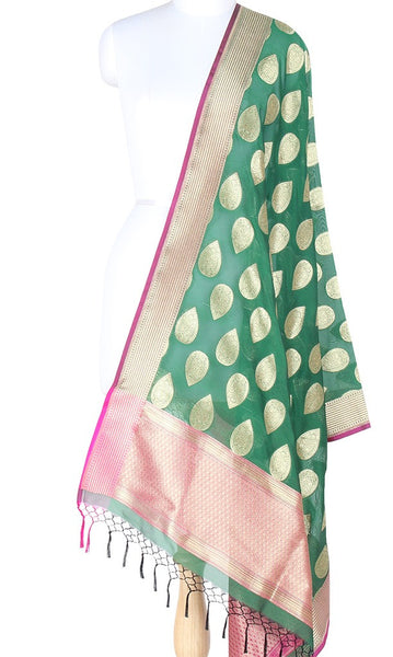 Bottle Green Art Silk Banarasi Dupatta with stylized drop motifs SSRVDAS636 (1) Main