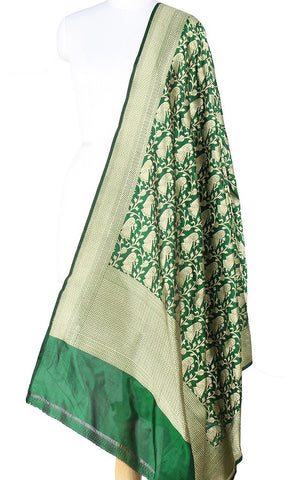 Bottle Green Katan Silk Banarasi Dupatta with Baluchari motifs Main Image
