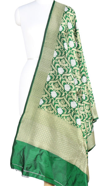 Bottle Green Katan Silk Banarasi Dupatta with stylized jaal and zari work PCRVD01B05 (1) Main