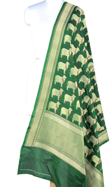 Bottle Green Katan silk Banarasi dupatta with cow motifs (PCRVD02C04) (1) Main