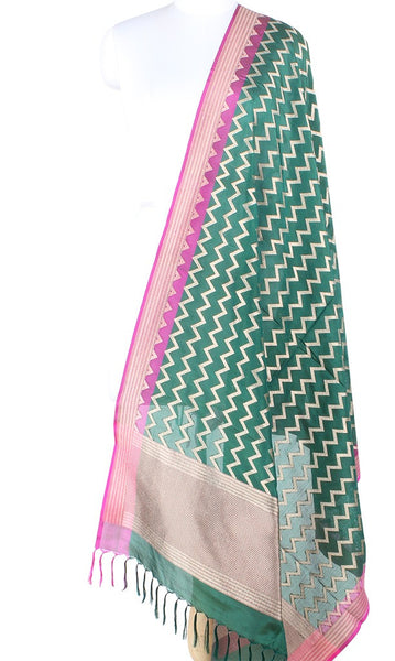 Bottle green Banarasi Silk Dupatta with Vertical chevron stripes PCPBD04S21 (1) Main