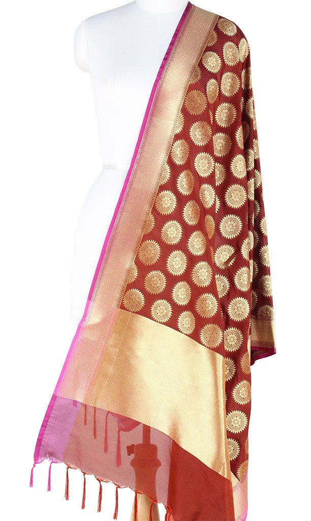 Brown Art Silk Banarasi Dupatta with aesthetic sun motifs PCJB01N115 (1) Main