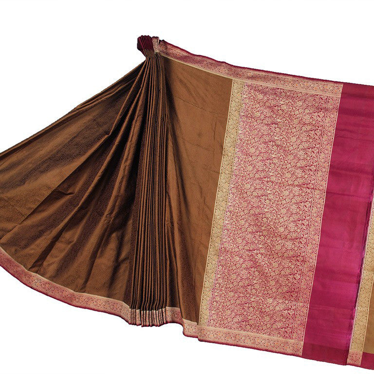 Brown Tanchoi Banarasi Silk Saree with Kashmiri design