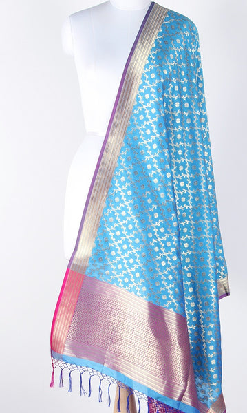Carolina blue Art Silk Banarasi Dupatta with stylized leaf jaal SSRVDAS629 (1) Main