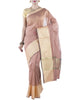 Chiku Brown Chanderi Art Silk Cotton Saree with Zari work