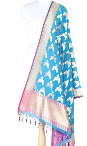 Cobalt Blue Art Silk Banarasi Dupatta with stylish bird pair motifs SSRVDAS635 (1) Main