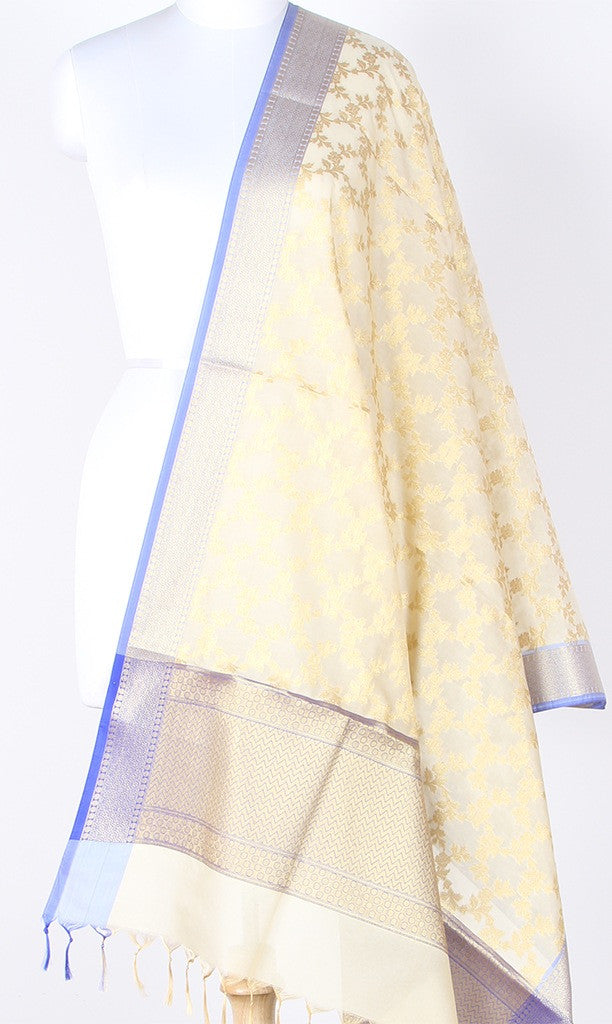 Cream Art Silk Banarasi Dupatta with Aesthetic floral jaal with blue edge SSRVDAS01N02 (1) Main