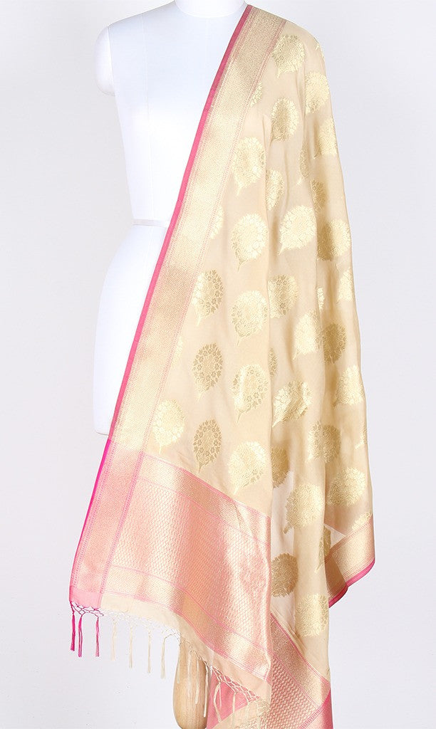Cream Art Silk Banarasi Dupatta with Floral bouquet motifs SSRVDAS543 (1) Main