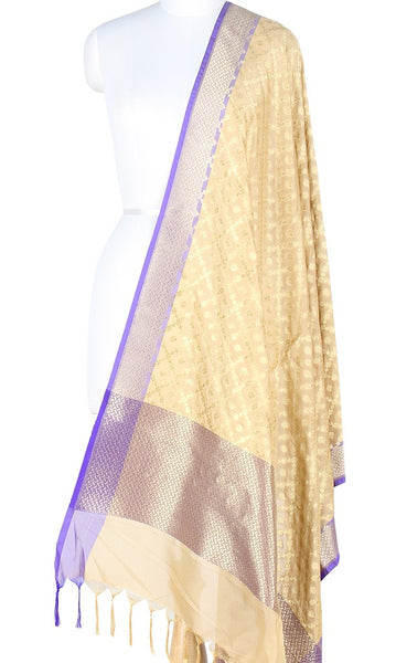 Cream Art Silk Banarasi Dupatta with big grid pattern jaal and zari work PCJB01N58 (1) MAIN