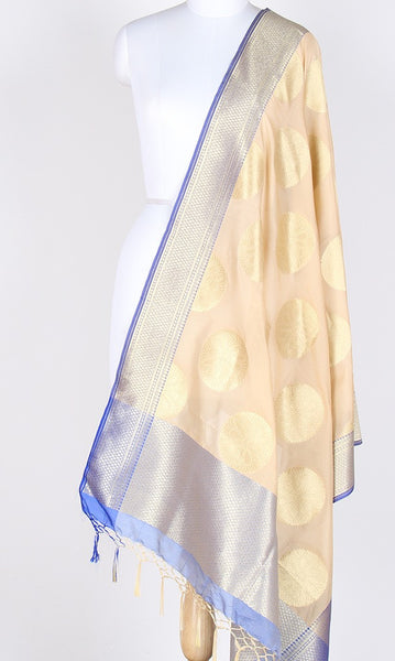 Cream Art Silk Banarasi Dupatta with big round floral boota SSRVD01RF02 (1) Main