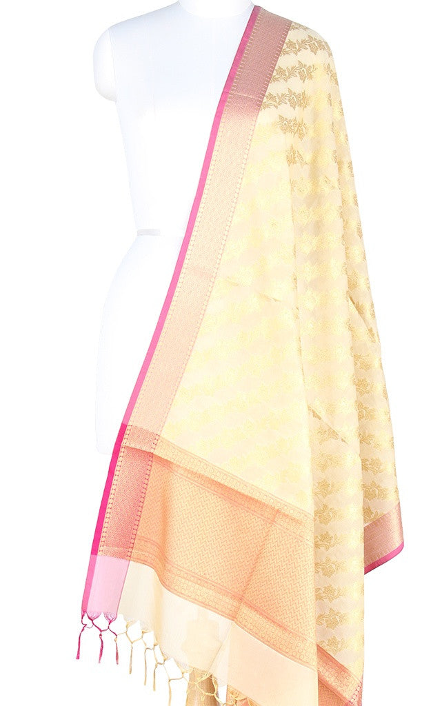 Cream Art Silk Banarasi Dupatta with diagonal floral jaal PCRVD01N49 (1) Main