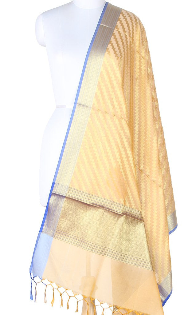 Cream Art Silk Banarasi Dupatta with diagonal zigzag stripes SSRVDAS01N16 (1) Main