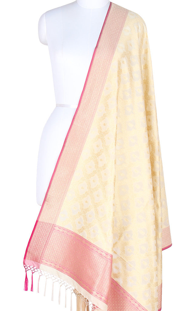 Cream Art Silk Banarasi Dupatta with floral jaal and paisley motifs SSRVDAS550 (1) Main