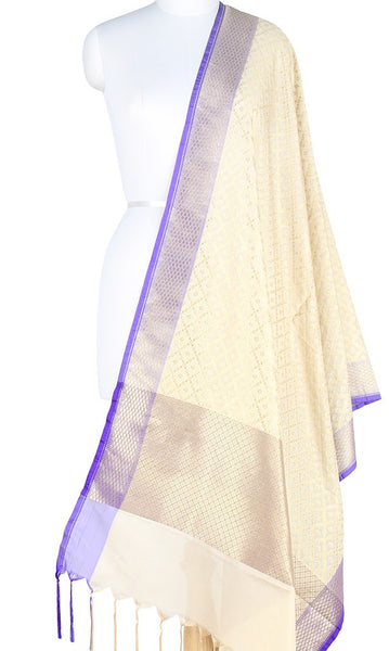 Cream Art Silk Banarasi Dupatta with grid pattern jaal PCJB01N06 (1) Main