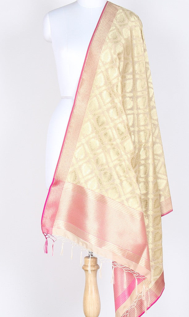 Cream Art Silk Banarasi Dupatta with leaf motifs and jaal SSRVDAS505 (1) Main