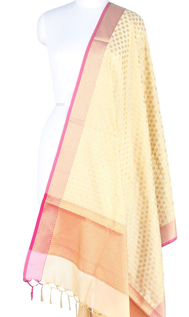 Cream Art Silk Banarasi Dupatta with mini floral booti and zari work PCRVD01N38 (1) Main