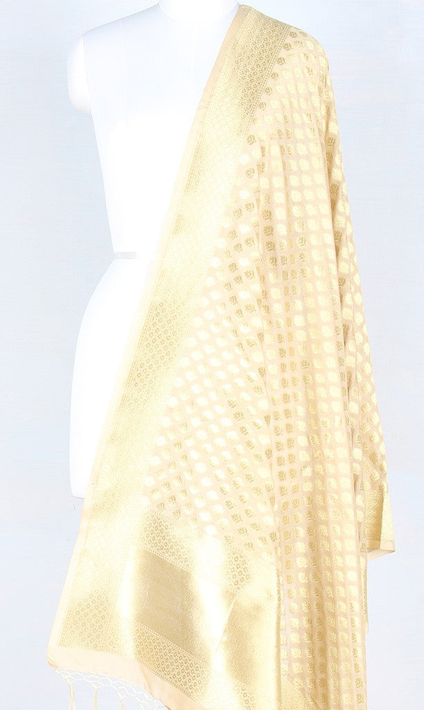 Cream Art Silk Banarasi Dupatta with mini flower motifs PCRVDAS119 (1) Main