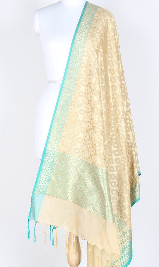 Cream Art Silk Banarasi Dupatta with paisley jaal and zari work SSJB01N82 (1) Main