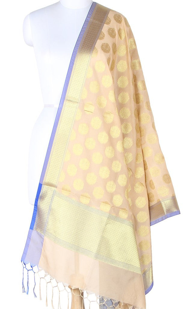 Cream Art Silk Banarasi Dupatta with stylized boota and zari work SSRVDAS01N11 (1) Main