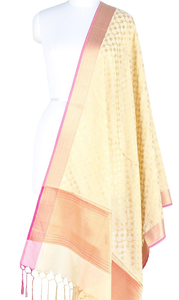 Cream Art Silk Banarasi Dupatta with stylized leaf jaal PCRVD01N54 (1) Main