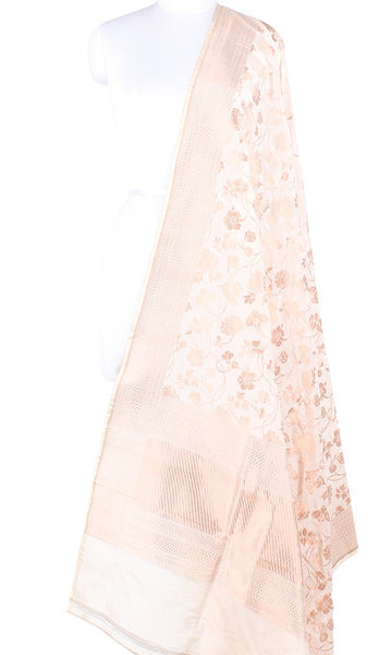 Cream Katan Silk Handwoven Banarasi dupatta with flower jaal PCARS05KS15 (1) Main