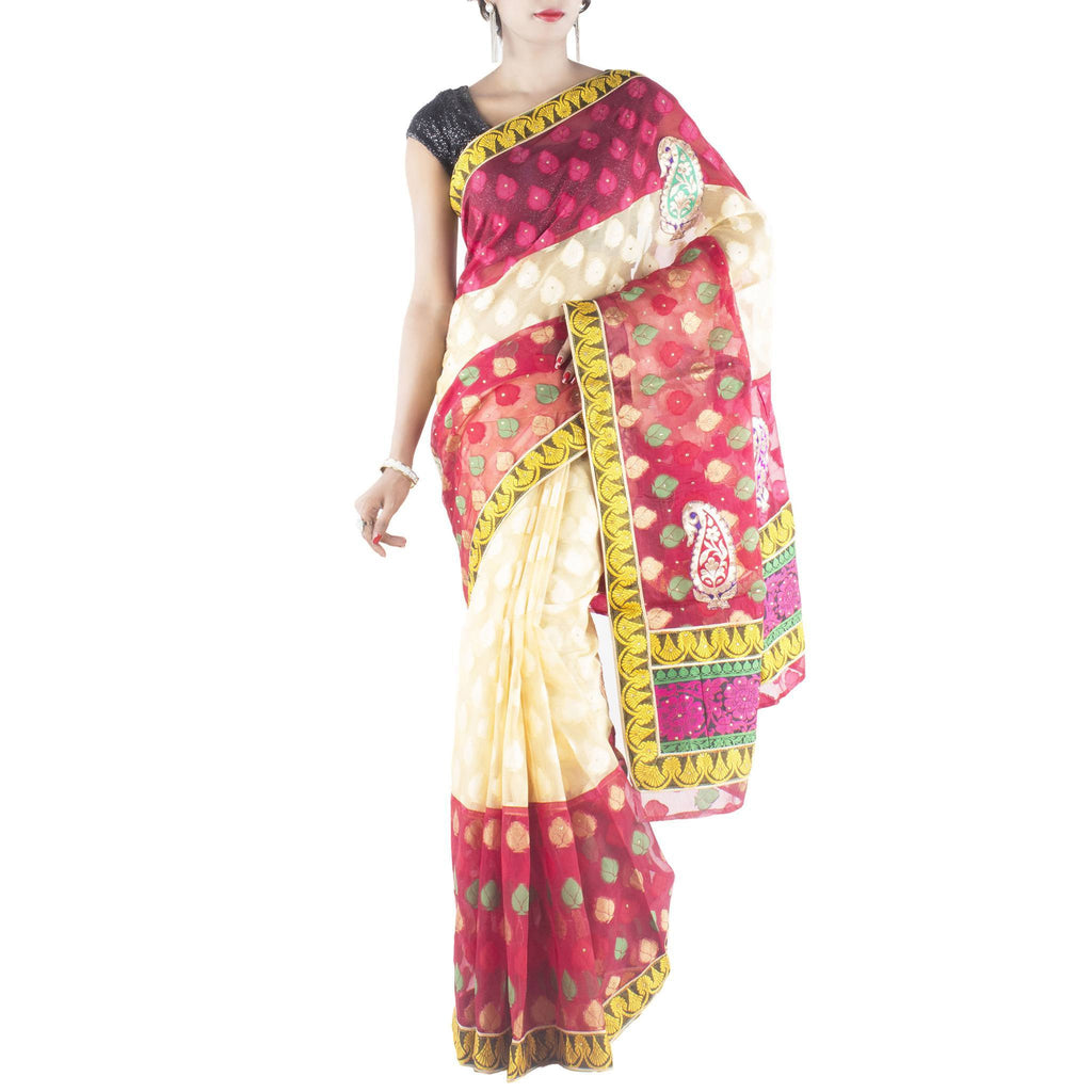 Cream Red Art Silk Saree with Leaf motifs and stone work