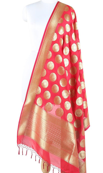 Crimson Art Silk Banarasi Dupatta with stylized circular motifs ZISSRVDAS681 (1) Main