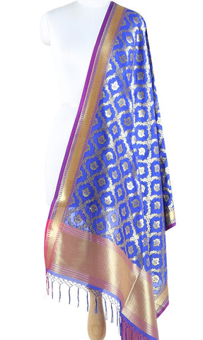 Crimson Art Silk Banarasi Dupatta with stylized circular motifs ZISSRVDAS682 (1) Main