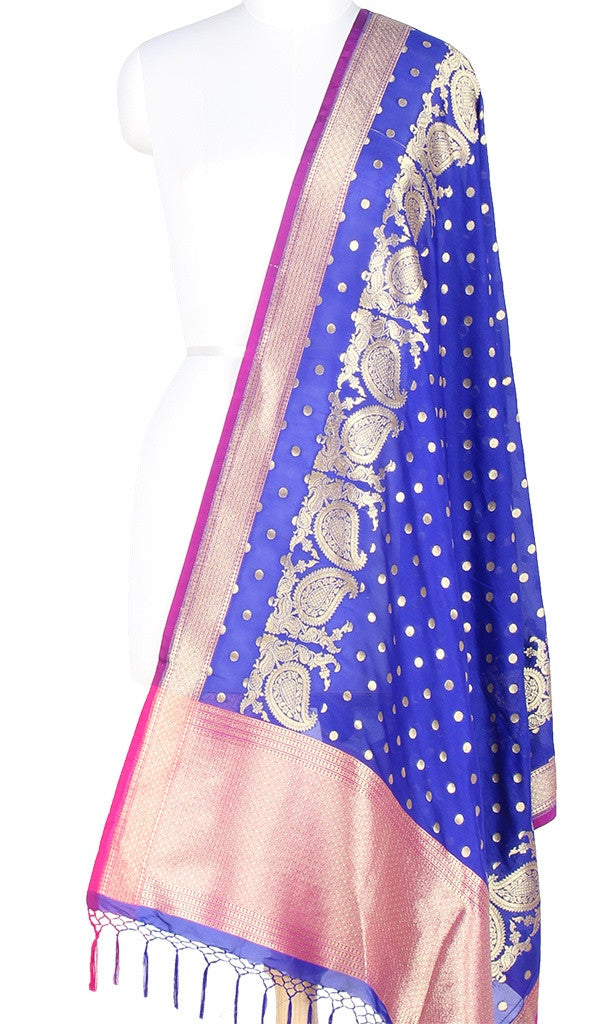 Dark Blue Art Silk Banarasi Dupatta with polka dots and paisley jaal PCRVDAS131 (1) MAIN