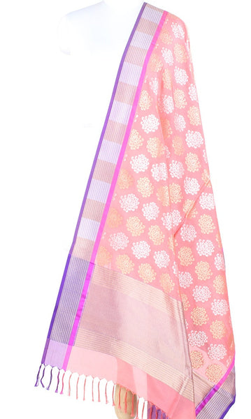 Dark Peach Banarasi Silk Dupatta with spider mums motifs and dual zari  PCPBD01SG17 (1) Main
