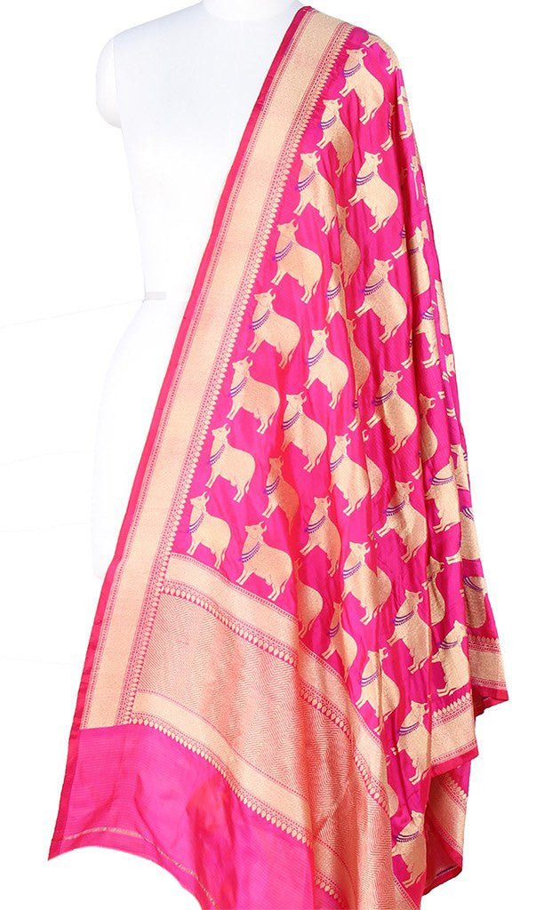 Fuchsia Katan Silk Banarasi Dupatta with cow motifs and zari work Main Image