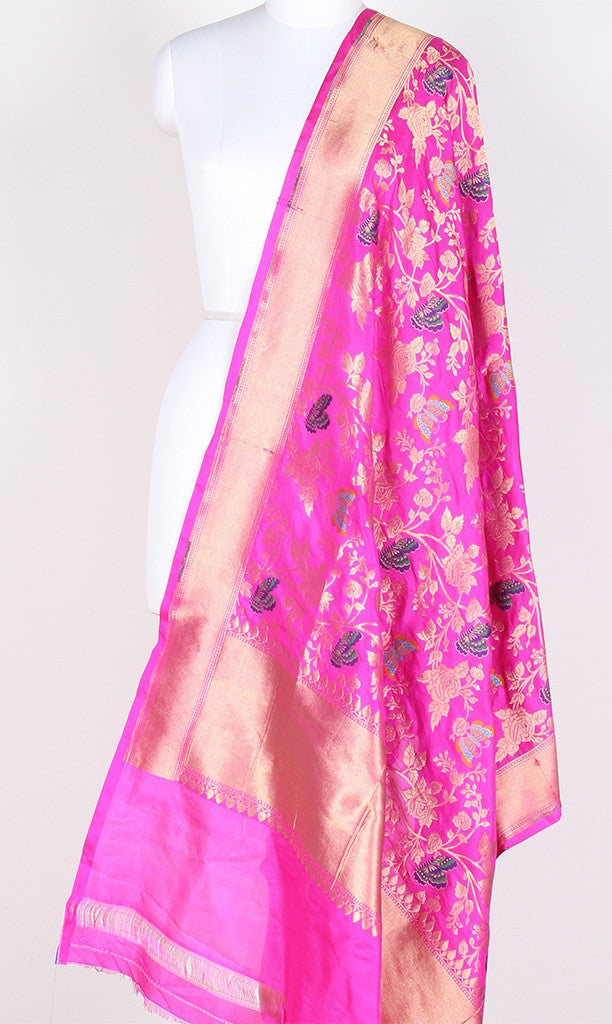 Fuchsia Katan Silk Hanwoven Banarasi Dupatta with flower and butterfly jaal PCRVDKS03BY06 (1) Main
