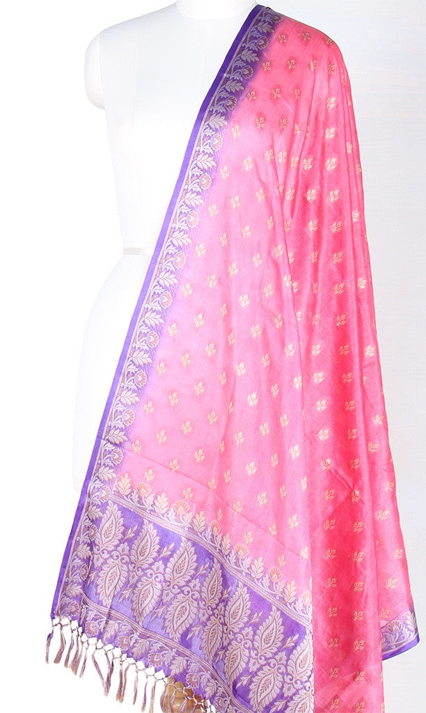 Fuchsiya Tussar Silk Banarasi dupatta with leaf motifs PC01TS07 (1) Main