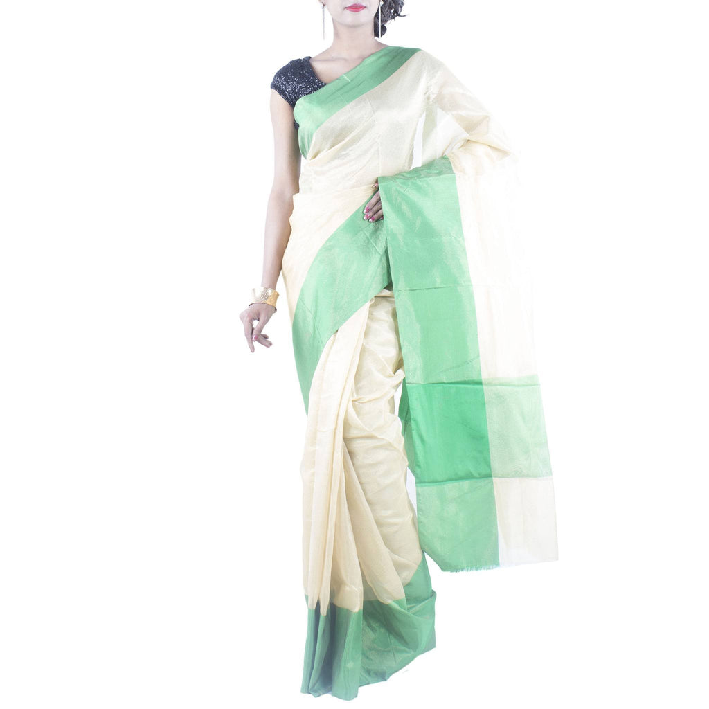 Gold Tissue Art Silk Saree with Plain Green Border