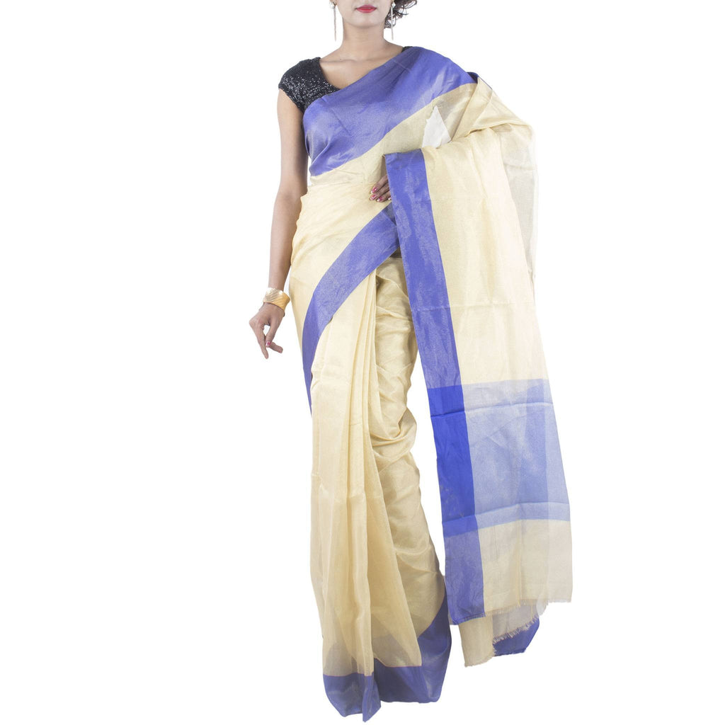 Gold Tissue Art Silk Saree with Plain Royal Blue Border