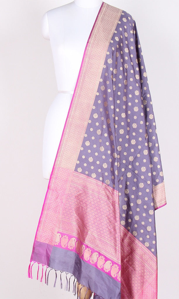 Gray Katan Silk Banarasi Dupatta with round motifs PCPBD07KS02 (1) Main
