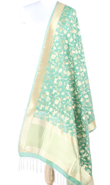 Green Art Silk Banarasi Dupatta with Shikargah jaal 10000425100007FG131 (1) Main