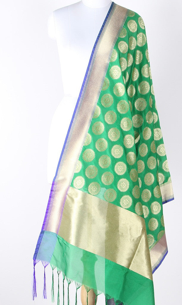 Green Art Silk Banarasi Dupatta with aesthetic sun motifs and blue edge SSJB01N124 (1) Main