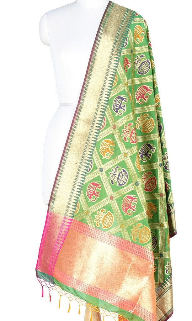 Green Art Silk Banarasi Dupatta with big patan patola design PCRVD01P10 (1) Main