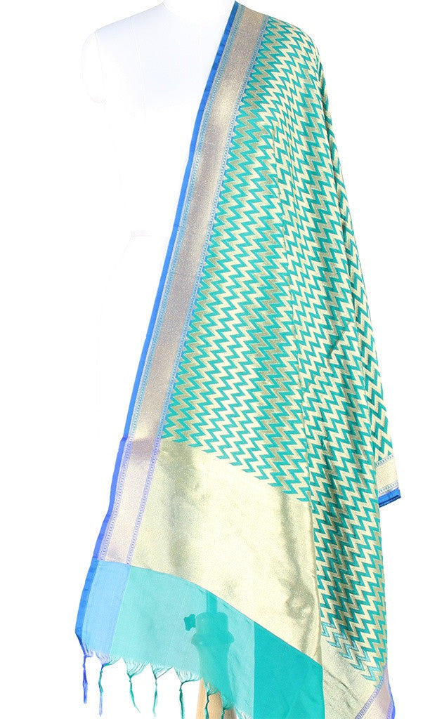 Green Art Silk Banarasi Dupatta with chevron pattern jaal PCJB01N28 (1) Main