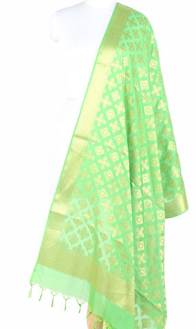 Green  Art Silk Banarasi Dupatta with  geometrical art (1) Main