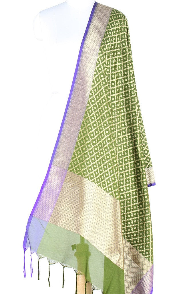 Green Art Silk Banarasi Dupatta with grid pattern jaal PCJB01N32 (1) Main
