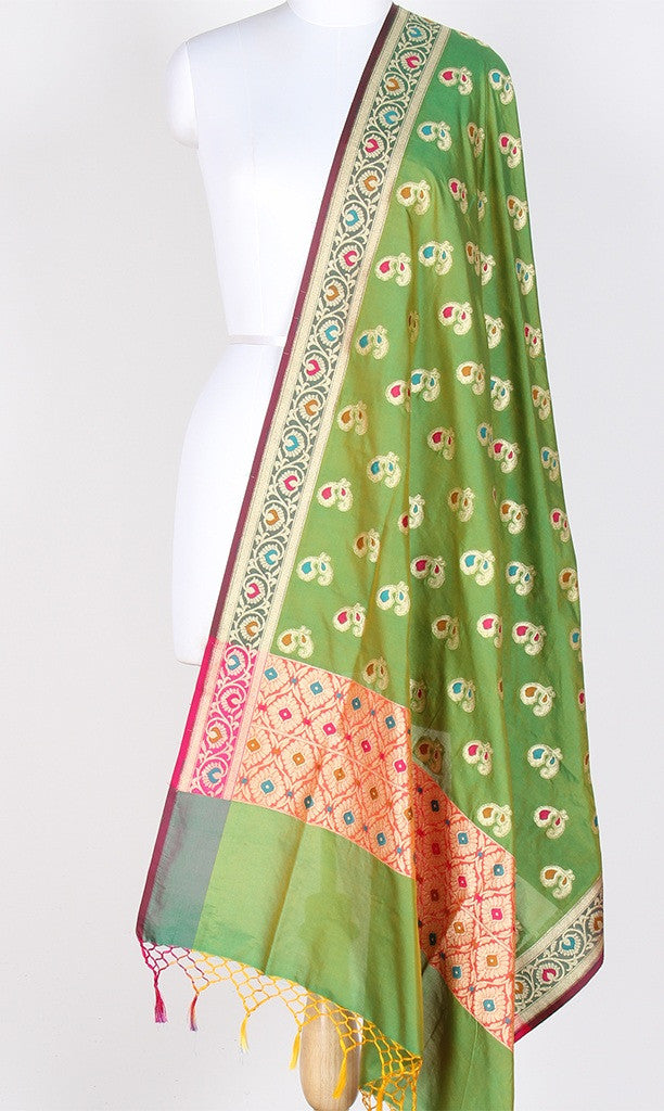 Green Art Silk Banarasi Dupatta with multi color peacock motifs PCRVDAS01TMP02 (1) Main